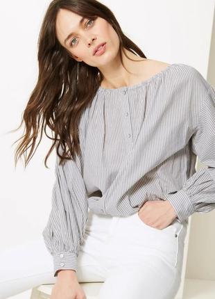 Блуза в полоску хлопок большой размер хлопок лимитированный выпуск marks & spencer