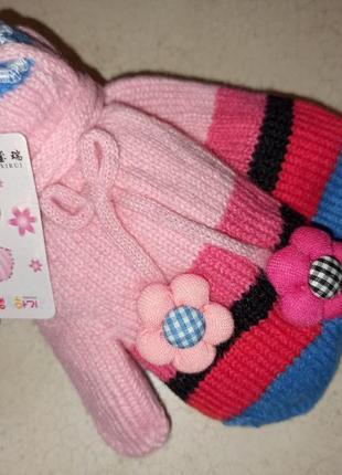 Детские утепленные варежки на веревочке на 1-2 года