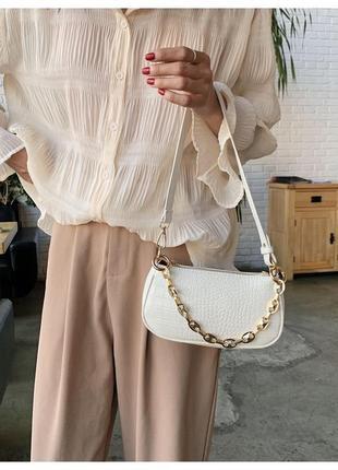 Сумка сумочка багет винтажная с ручкой белая с цепочкой стильная новая
