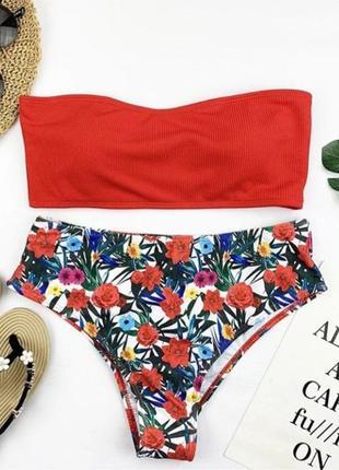 Красный купальник бандо с высокими плавками