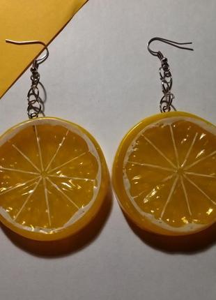 Серьги лимоны ручной работы