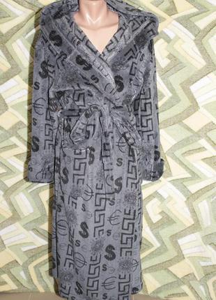 Махровый длинный мужской халат на запах с капюшоном