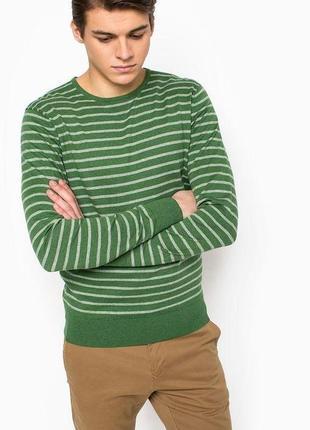 Джемпер мужской коттоновый зеленый в полоску tommy hilfiger р. 52-54 -56 укр.