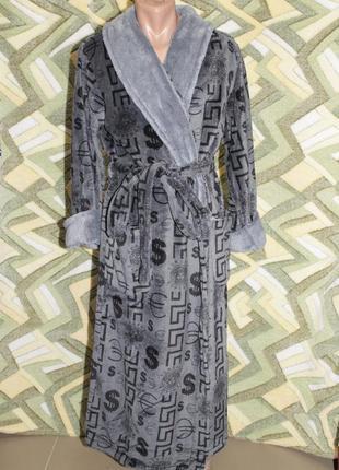 Махровый длинный мужской халат на запах шаль без капюшона