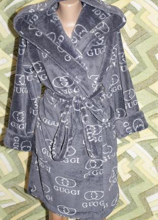 Махровый халат на запах с капюшоном подростковый