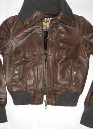 Классная модная кожаная курточка - бомбер new look