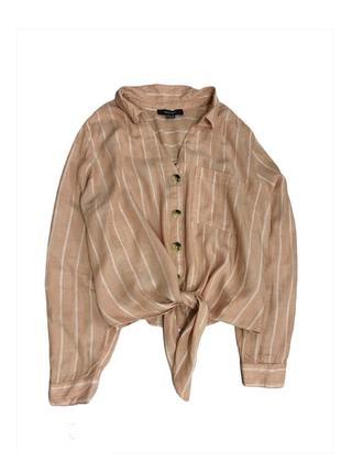 Рубашка лён вискоза на пуговицах с завязками