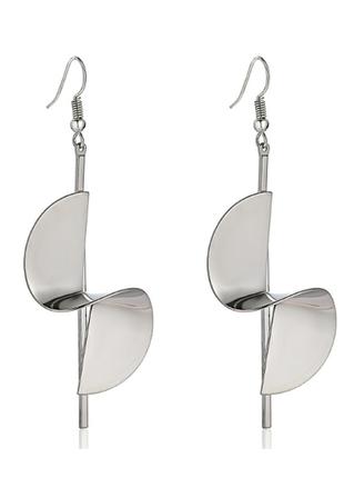 Серьги спираль стильный фасон цвет под серебро / большая распродажа!