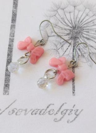 Распродажа! серебристые серьги висюльки сережки розовый бантик бижутерия