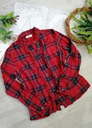 Блузка рубашка в принт шотландская клетка / в клетку красная  для новогодней фотосесии