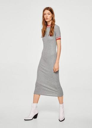 Mango вискозное платье в рубчик миди s m l