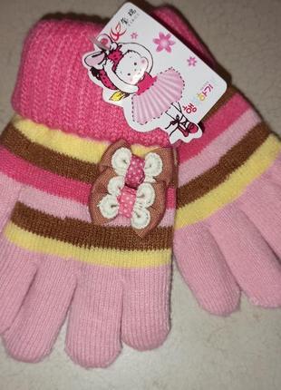 Двойные теплые перчатки на девочку 4-6 лет