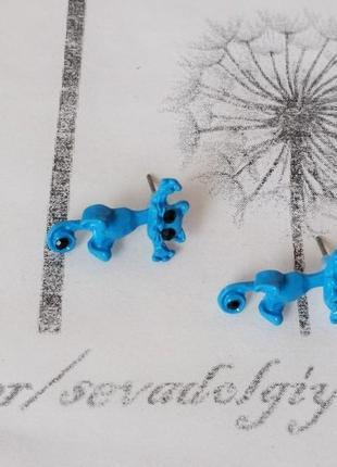 Серьги джекеты синяя кошка двойные сережки гвоздики кульчики летние яркие