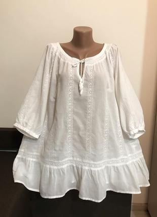 Батистовая хлопковая блуза в прошву батал