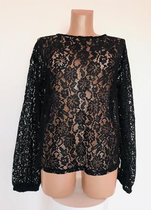 Модная стильная брендовая ажурная блуза с объёмными рукавами🖤