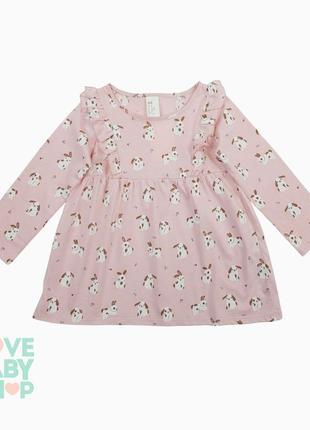 Сукня плаття з зайками трикотаж нм платье розовое h&m