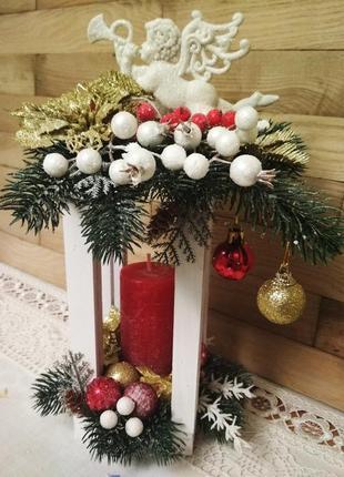 Декор для дома, рождественский фонарь, новогодняя, праздничная интерьерная композиция.