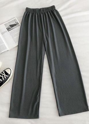 Штаны в рубчик, трендовые штанишки с шнурками, широкие штаны