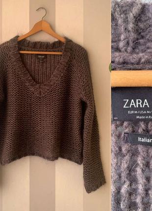 Объемный вязаный свитер zara!