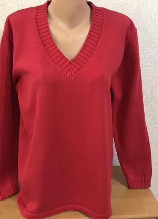 Casual красный котоновый хлопок свитер с мысиком прямого кроя