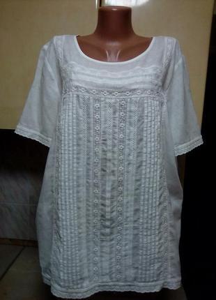 Натуральная блуза вышиванка белым по белому хлопок прошва кружево пог63 поб67