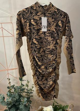 Жаккардовое платье zara м/l5 фото