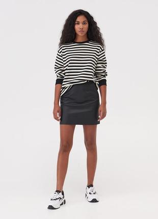 Новая широкая полосатая черно-белая кофта черный свитшот белые полоски e-girl xs s m l