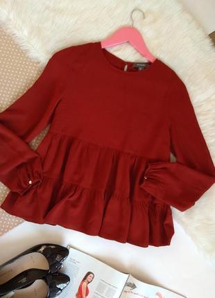 Шикарная блуза коралловая ярусная до длинного рукава