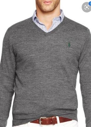 Мужская  кофта пуловер  polo ralph lauren jumper slim fit in merino wool