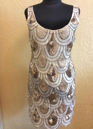 Платье tfnc вышитое блестящими пайеткам и бисером р.46 48