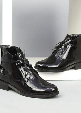 Шикарные ботинки кожа лак осень зима 36 41