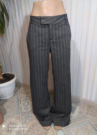 Трендовые брюки трубы в полосеу с подворотом от zara