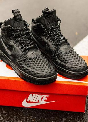 Зимние кроссовки nike lunar force duckboot black с мехом код : 357