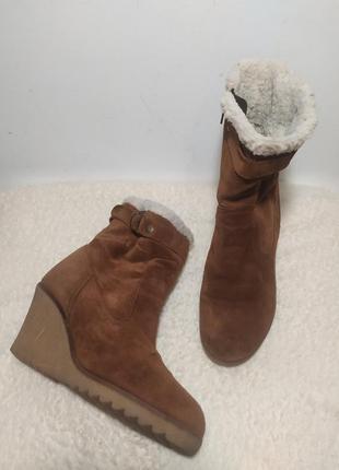 Демисезонные ботинки из натуральной замши на утеплителе