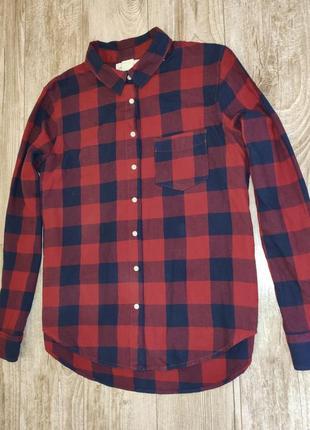 Стильная, красная рубашка в клетку h&m