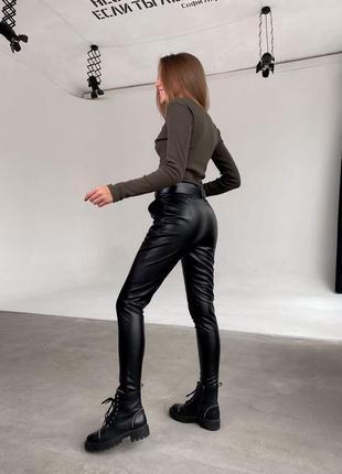 Брюки штаны лосины кожаные экокожа утепленные