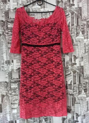 Облегающее гипюровое платье красное размер 44-46 платье zean