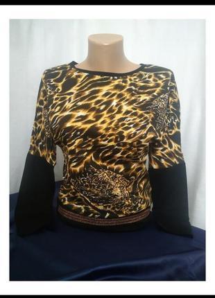 Леопардовый свитшот свободного кроя