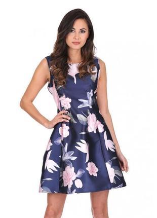 Ax paris платье темно синее в цветочный принт белое розовое короткое