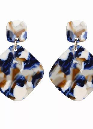 Синие акриловые серьги сережки квадратные