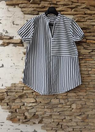 Полосатый блузон блузон большого размера