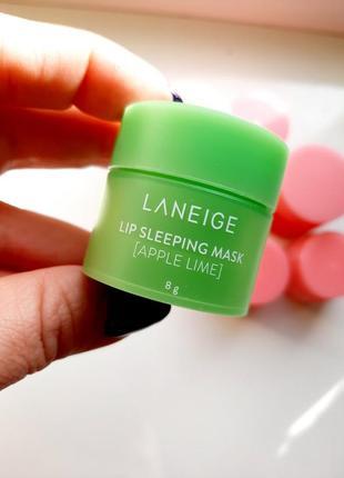 Laneige lip sleeping mask apple lime ночная маска для губ с ароматом яблока и лайма 8г