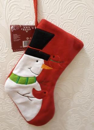Сапожок-декор снеговик