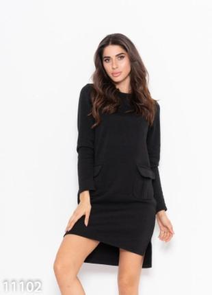 Черное теплое асимметричное платье с карманами (11102)