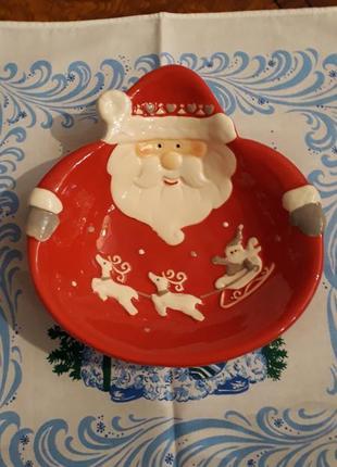 Тарелка новогодняя  дед мороз