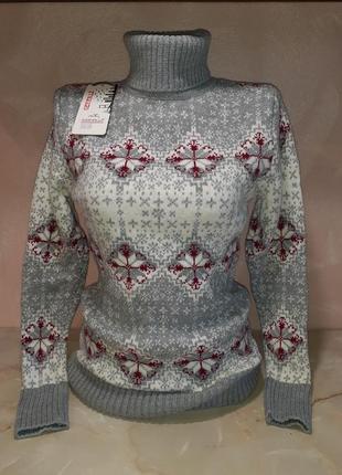 Теплый шерстяной свитер двойное вязание синий серый розовый
