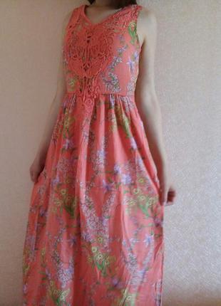 Шикарное длинное летнее платье с узором
