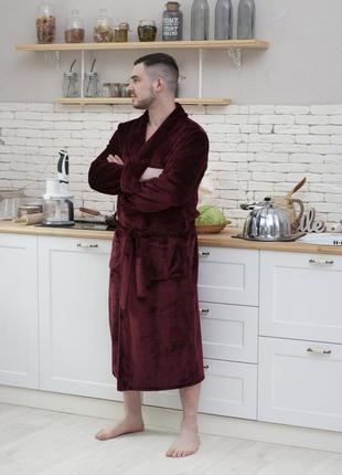 Мужской махровый халат, теплый мужской халат длинный