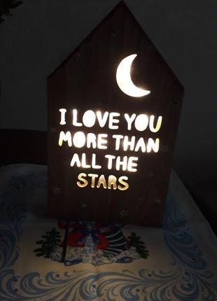 Оригинальный элемент декора домик с подсветкойи текстом.