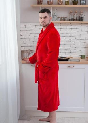 Мужской махровый халат, теплый халат мужской длинный с воротником